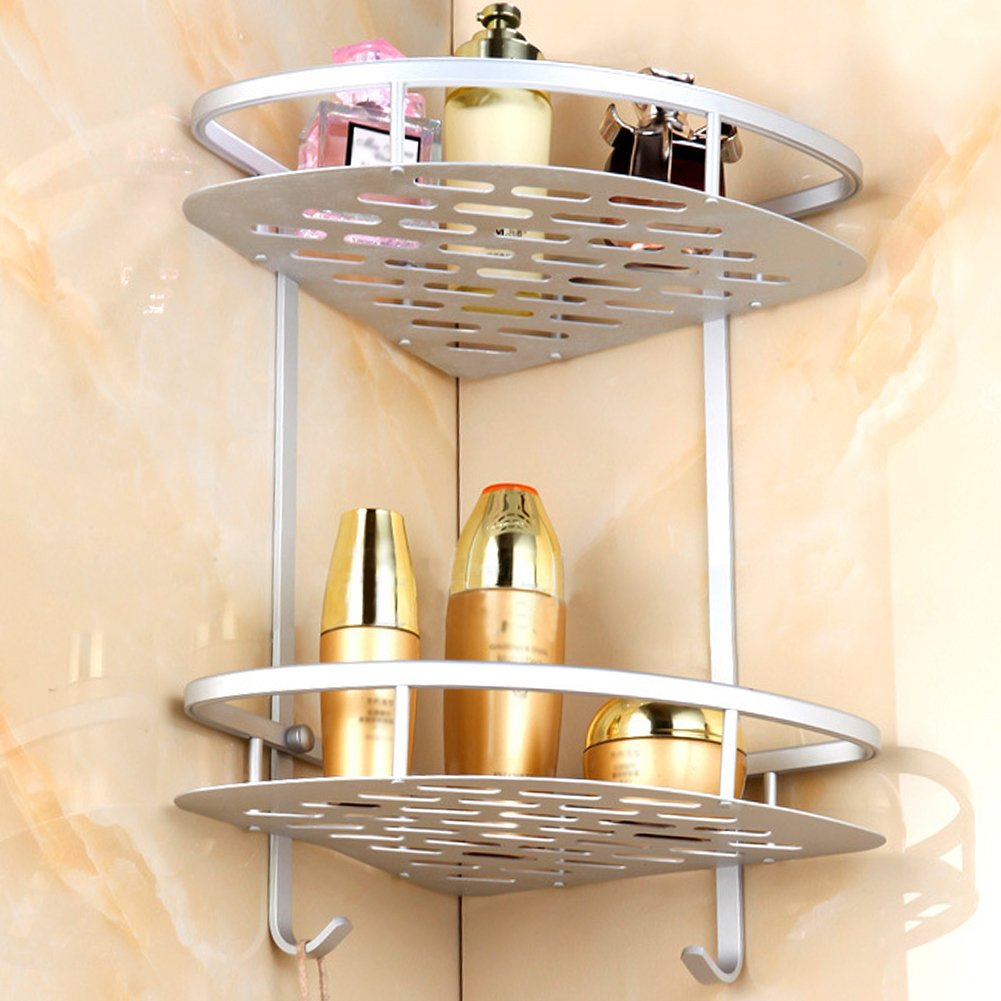 Wall Mount Shower Shelfs 2-Tier Aluminum Alloyl Bathroom Shelves Home Decor Corner Rack with Two Hooks for Towels, Bath Ball