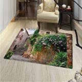 Landscape Rugs Bedroom Summer Garden Flowers Marigold Stones Antique Ancient House in Spain Art Print Circle Rugs Living Room 4'x5' Multicolor