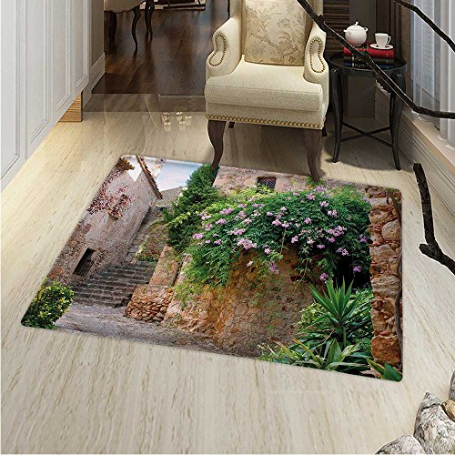 Landscape Rugs Bedroom Summer Garden Flowers Marigold Stones Antique Ancient House in Spain Art Print Circle Rugs Living Room 4'x5' Multicolor by Anhounine