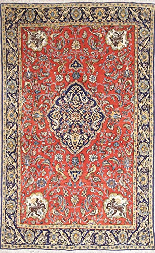 (Rug Source One-of-A-Kind Geometric Animal Print Hand-Knotted 4x7 Red Wool Vintage Persian Area Rug (6' 10