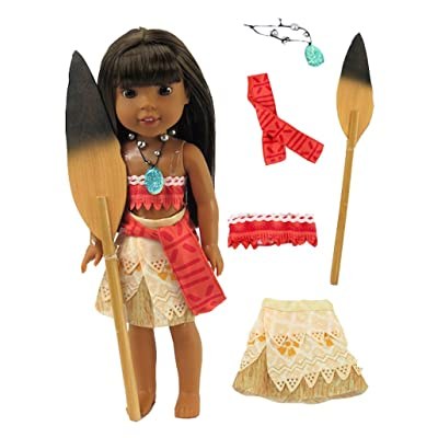 American Fashion World Moana Inspired Polynesian Princess Outfit Made for 14-inch Dolls: Toys & Games