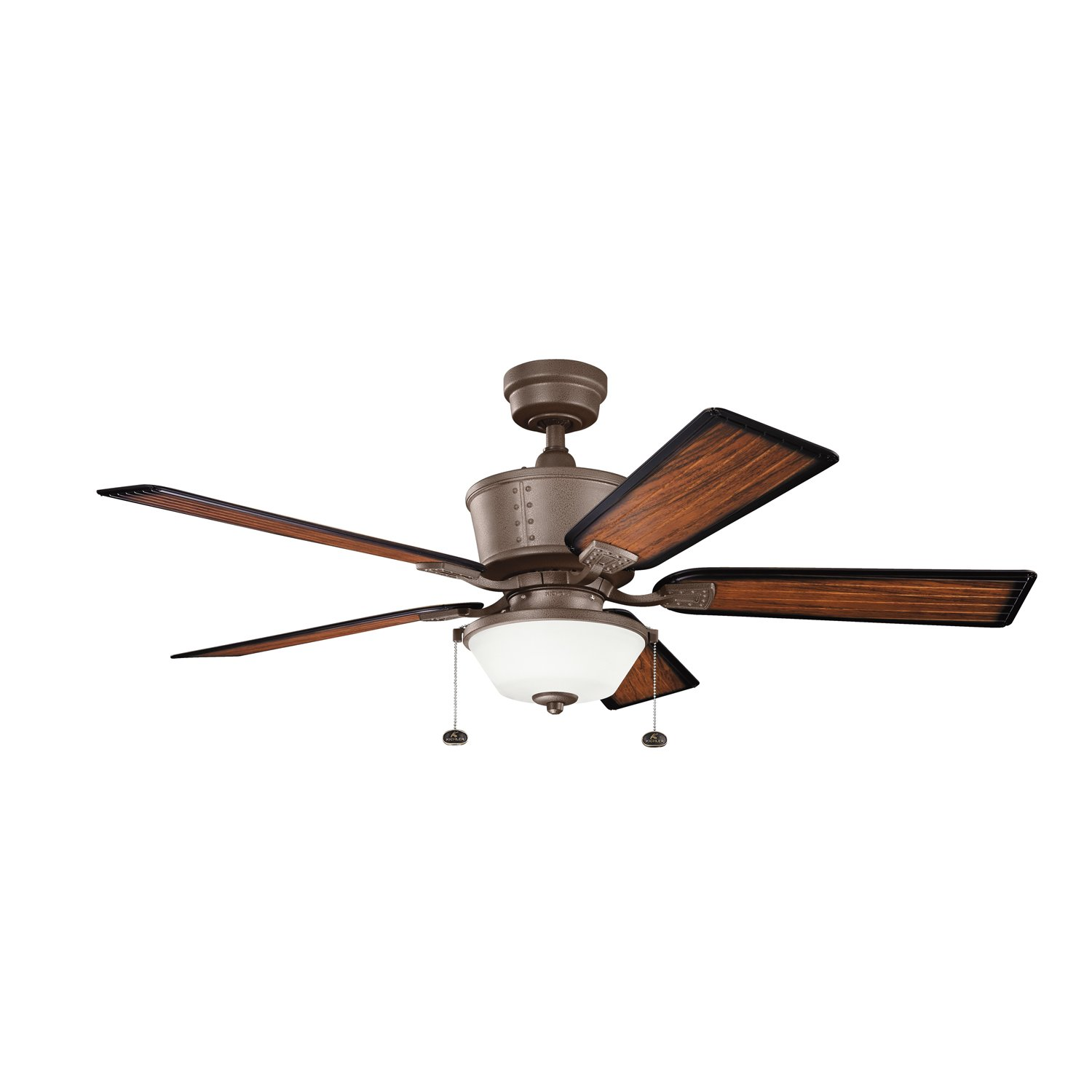 Kichler Lighting 300162TZP Cates 52-Inch Wet Location Ceiling Fan, Tannery Bronze Powder Coat Finish with ABS Blades and Etched Glass