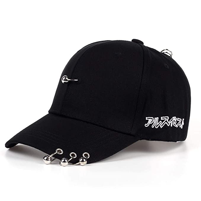 Mens Snapback Hats Solid Color Iron Ring Decor Cotton Hats Women Kpop Simple Baseball Cap Unisex