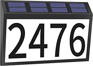 House Numbers Plaque, Solar Powered LED Light Address Number Signs, Address Numbers Plaque IP44 Waterproof for Home Yard Outdoor Street Outside Wall