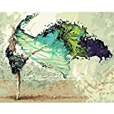 Painting by Numbers, VMAE DIY Oil Painting Paint by Number Kits, Drawing On Canvas by Hand Coloring Arts Crafts for Home Living Room Office Christmas Decoration Gifts Without Frame - Dance Girl
