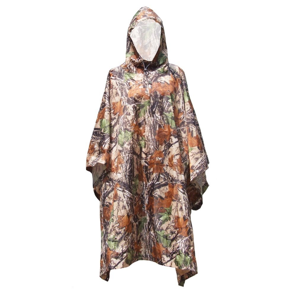Lixada 3 in 1 Multifunctional Outdoor Military Travel Camouflage Raincoat Poncho Backpack Rain Cover Waterproof Tent Mat Awning Mountaineering Climbing Hunting Cycling Camping Hiking