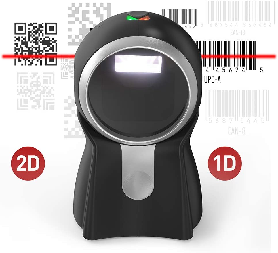 Book Shop Works for Supermarket Barcode Scanner TaoTronics Wired 2D 1D Barcode Desktop USB Portable CMOS Bar Code Scanner with Dual Core 1Ghz Processor,Read Codes from Screen