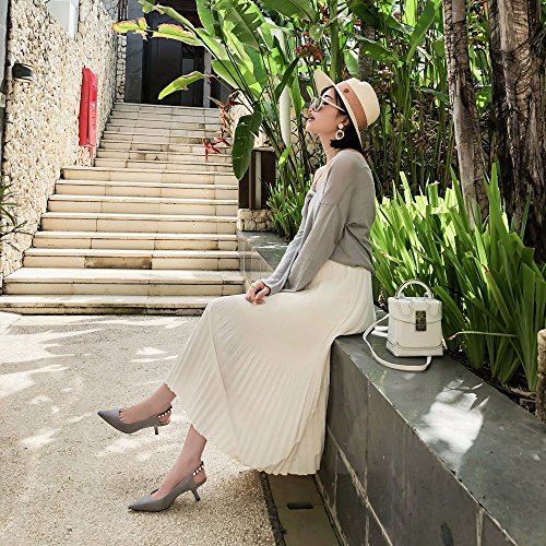Taladro 36 Zapatos con de Solo de de Primavera DHG Temperamento Puntiagudo Zapatos Diamantes Gris Tacón Negro de Femeninos Tacón Imitación dwCSRH
