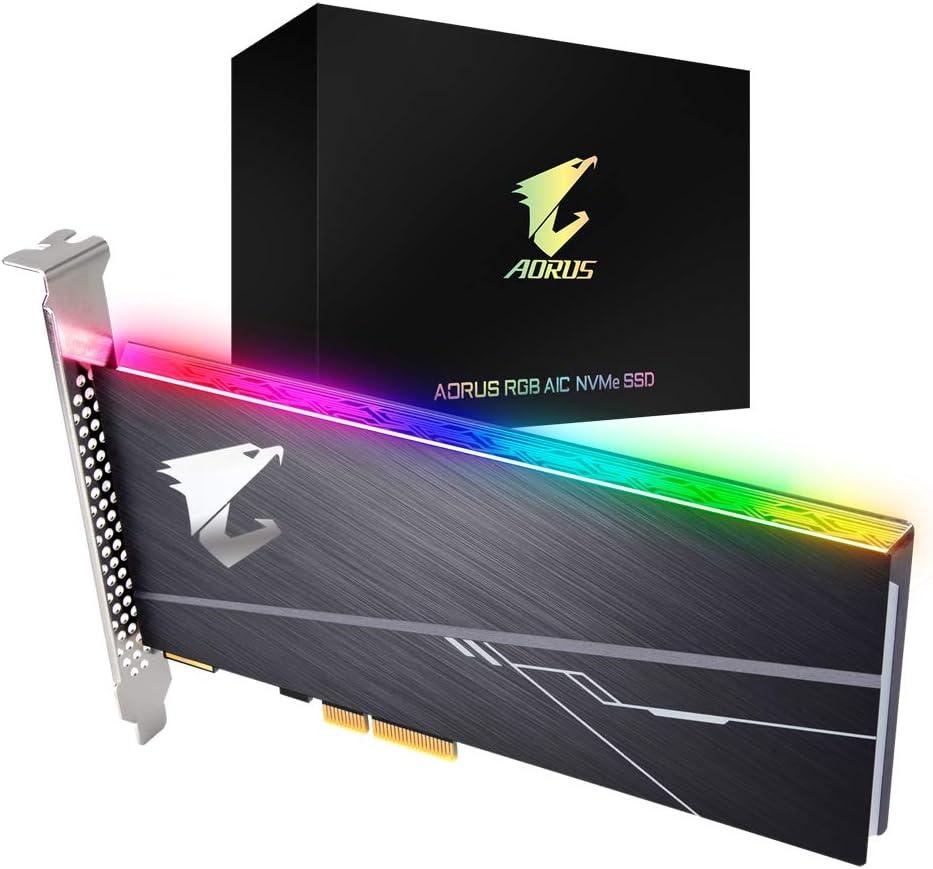Gigabyte Disco Duro PCIE SSD 512GB AORUS AIC PCIE X4 RGB: Amazon ...