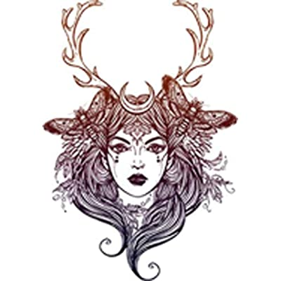 """Pretty Wilderness Forest Moon Goddess with Antlers #1 Vinyl Decal Sticker (4"""" Tall): Arts, Crafts & Sewing"""