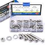 Glarks 280-Pieces M4 Pan Head Phillips Stainless Steel Screws Bolts Nuts Lock and Flat Gasket Washers Assortment Kit