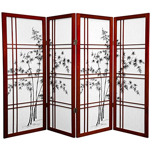 ORIENTAL FURNITURE 4 ft. Tall Bamboo Tree Shoji Screen - Rosewood - 4 Panels