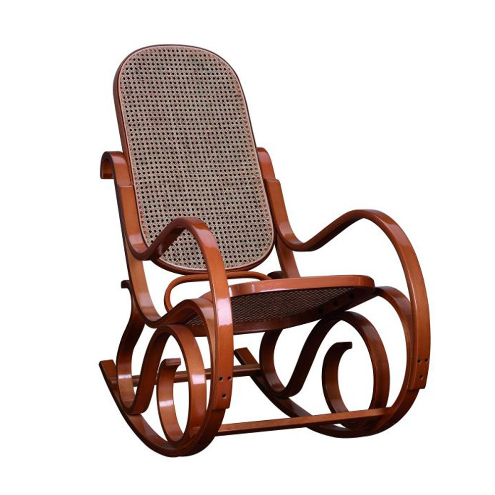 Rocking chair teinté miel -Assise et dossier canné - Dim L.535 x P.920 x Ht.940 x Ht. Ass. 350 mm -PEGANE-