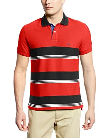 Nautica Men's Short Sleeve Striped Pique Polo, Mars Red, XX-Large