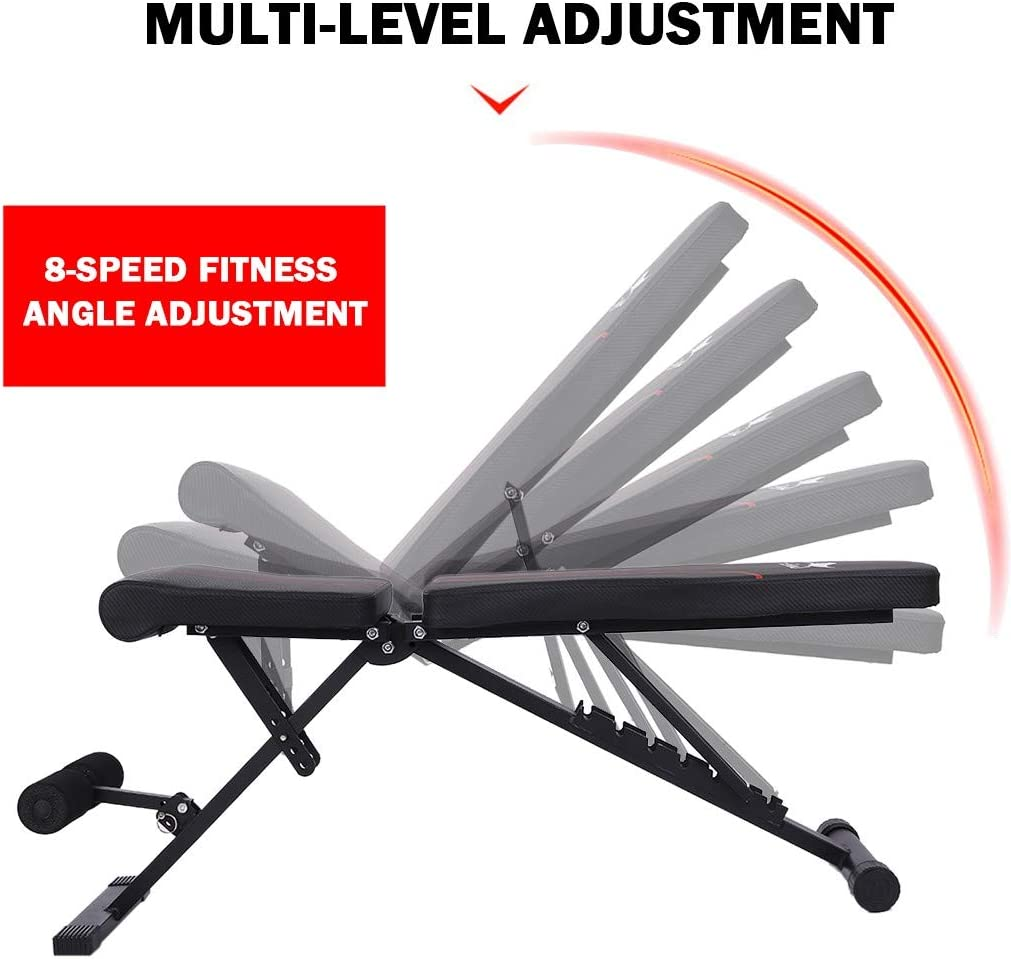 Adjustable Bench Supine Board For Full Body Workout US Stock Multifunction Weight Bench Foldable Fitness Bench Barbell /& Dumbbells Bench Abdominal Training Exercise Workout Bench