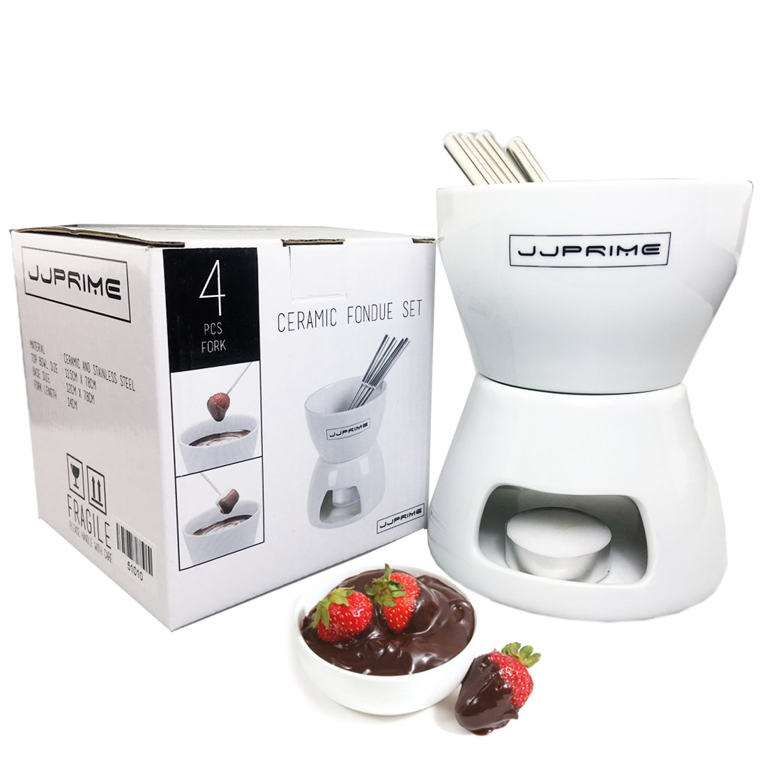 JJPRIME- FLASH SALES - Ceramic Chocolate Or Cheese Fondue Set With FREE Stainless Steel Forks Kitchen Modern Birthday Present Gift Xmas Christmas Wedding Party JJOnlineStore
