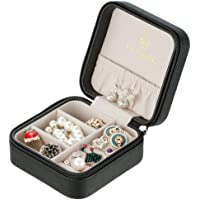 Vlando Small Faux Leather Travel Jewelry Box Organizer Display Storage Case for Rings Earrings Necklace