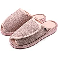 MEJORMEN Women's Slip On Slide Comfortable House Slippers Adjustable Open Toe Plush Terry Warm Bedroom Shoes for Wide Arthritic Swollen Feet, Elderly, Mom, Wife, Diabetic, Edema, Bunion