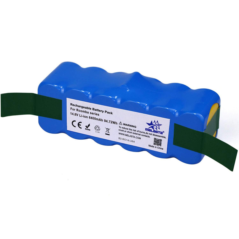 melasta Higher Power 6400mAh 14.8V Li-ion Replacement Battery Made of Brand Cells for iRobot Roomba 500 600 700 800 Series 510 530 531 532 550 585 595 561 620 630 650 675 760 770 780 870 880