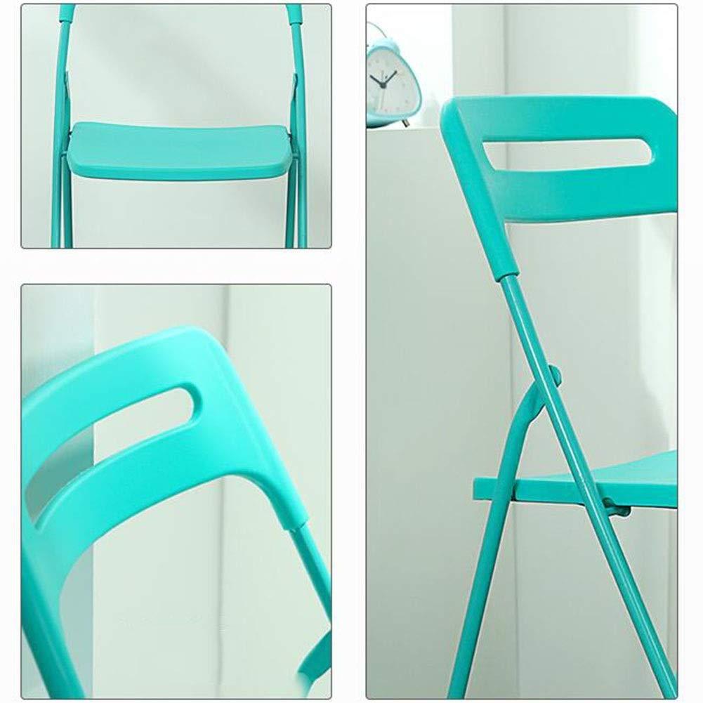 JIEER-C Fritidsstolar plast hopfällbara stolar järnram fritid ryggstöd stol hem dator kontor stol bekväm enkel förvaring hållbar stark BLÅ