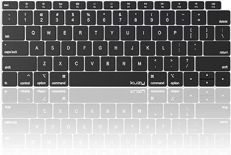 Kuzy - Funda para teclado de MacBook Air de 13 pulgadas 2019 2018 A1932 con protector de silicona para pantalla táctil y retina, color negro