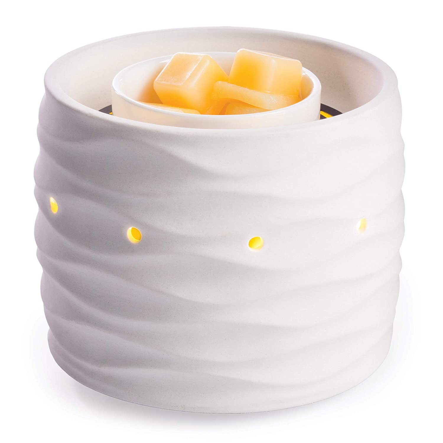 Candle Warmers Etc. Illuminaire Harmony Fan Fragrance Warmer- Whisper Quiet Fan Circulates Scent From Scented Candle Wax Melts And Tarts For Full Room Freshener, White