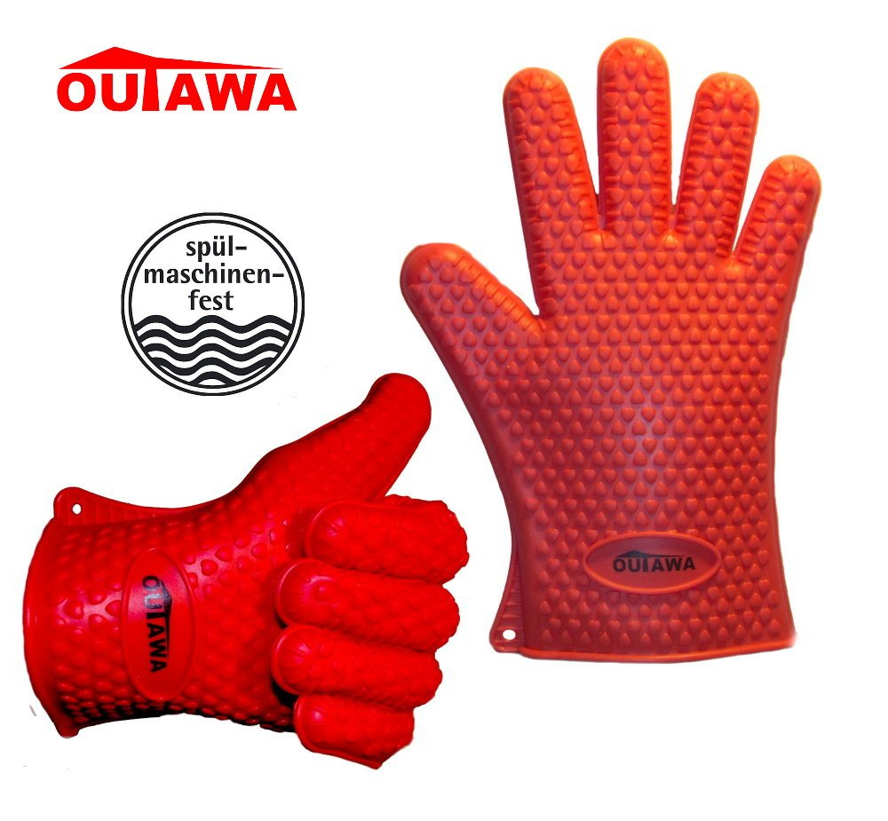 Back antideslizante guantes guantes de cocina con funci/ón /& 5/dedos Dise/ño Guantes de horno impermeable resistente al calor y manoplas para Indoor /& Outdoor outawa silicona Profesional Barbacoa Guantes