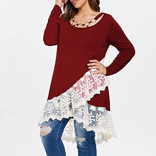 Amazon.com: AOJIAN Blouse Women Long Sleeve T Shirt O-Neck Lace Ring Neck Fashion Tunic Tank Shirts Tops: Clothing