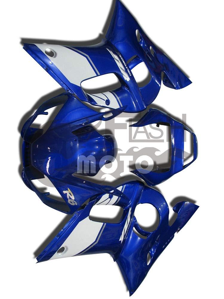 FlashMoto yamaha ヤマハ R6 YZF-600 1998 1999 2000 2001 2002用フェアリング 塗装済 オートバイ用射出成型ABS樹脂ボディワークのフェアリングキットセット (ブルー,ホワイト)   B07LF1QRJT