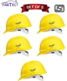 Fabtec Safety Helmet Hard Hat Head Protection Outdoor Work Head Saftey Helmet With ISI Mark (Set Of 5) (yellow)