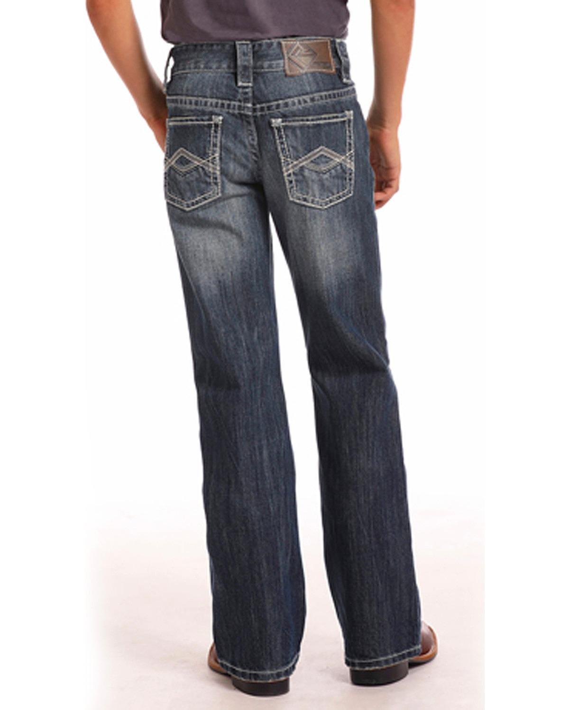 Rock & Roll Cowboy Boys' and Triple A Pocket Dark Wash Jeans (4-20) Boot Cut Indigo 14