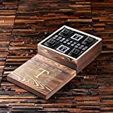 Grand Whisky Monogram Gift set with 4 Whisky Glasses, 4 Slate Coasters and 18 Ice Stones with Engraved Wooden Gift Box - Great Gift for Men, Groomsmen, Father's Day