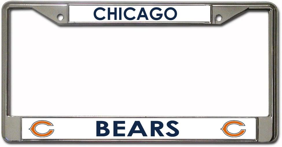 2 License Plate Frame Set Chicago Bears Chrome Metal