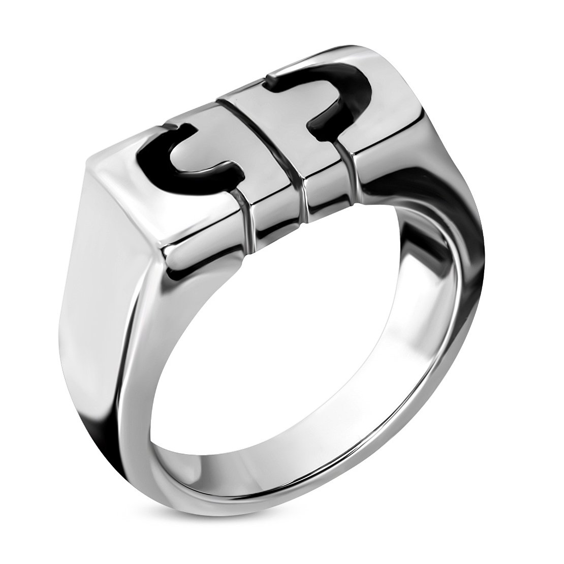 Stainless Steel Cut-out Alphabet C Geometric Ring