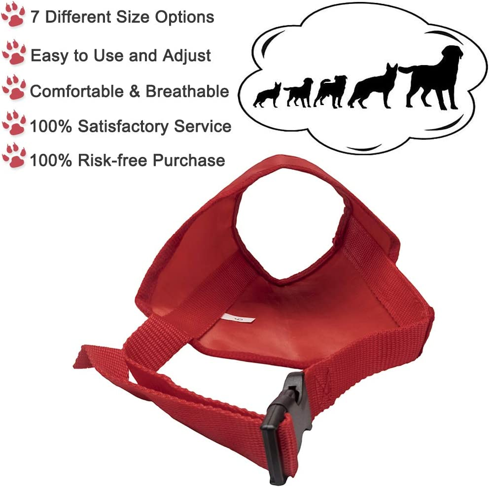 Coppthinktu Dog Muzzle Suit 7PC Dog Muzzles for Biting Barking Chewing Soft Comfortable Dog Muzzle for Long Snout Adjustable Dog Mouth Cover for Small Medium Large Dog