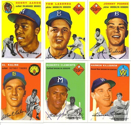 1994 Topps Archives 1954 Reprint Complete Mint Hand Collated 256 Card Set; It Was Never Issued in Factory Form. Loaded with Stars and Hall of Famers Including Jackie Robinson, Gil Hodges, Warren Spahn, Eddie Mathews, Pee Wee Reese, Yogi Berra, Phil Rizzuto, Willie Mays, Hank Aaron, Ernie Banks, Al Kaline, Roberto Clemente, Harmon Killebrew and More! Next Best Thing to Owning a Real 1954 Topps!