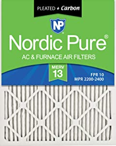 Nordic Pure 20x25x1M13+C MERV 13 Plus Carbon Pleated AC Furnace Air Filters, 6 PACK, 6 PACK