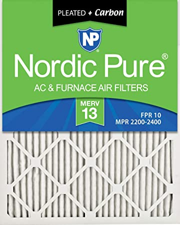 Nordic Pure 12x24x1 MERV 8 Pleated Plus Carbon AC Furnace Air Filters 12 Pack Piece