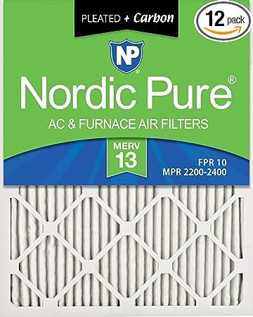 Nordic Pure 16x25x1 MERV 13 Tru Mini Pleat AC Furnace Air Filters 12 Pack