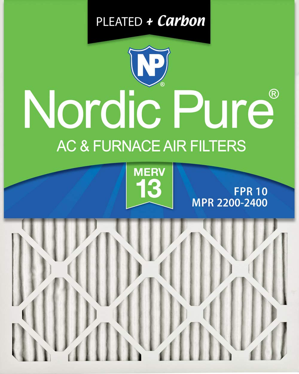 6 PACK 6 PACK 6 Pack Nordic Pure 12x20x1 MERV 14 Plus Carbon Pleated AC Furnace Air Filters