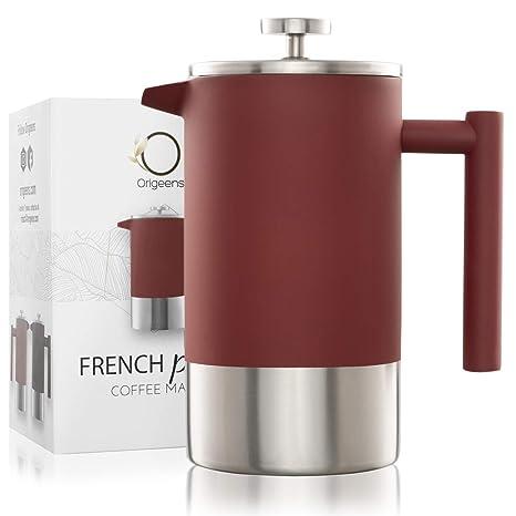 ⭐ Cafetera Embolo Acero Inoxidable Doble Pared y Graduado | Tetera/Cafetera Francesa 1L | Conformidad CE