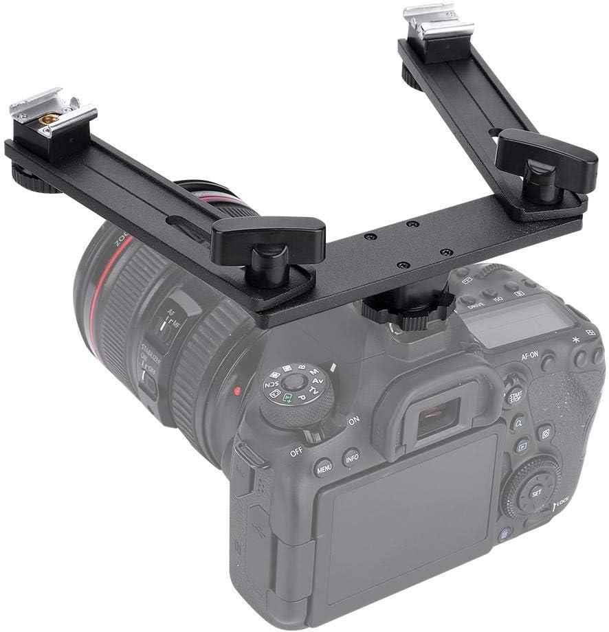 Aluminum Alloy Bracket Holder Camera Flashlight Stand with Double Hotshoe Camera Flashlight Speedlite Mount 2 Camera Flashlights Bracket