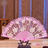 Pink Retro Women Flower Floral Lace Folding Hand Fan For Dance Drama Wedding