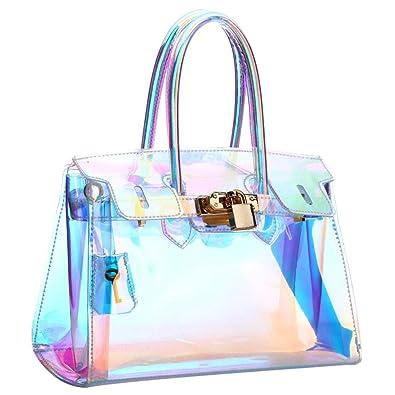 UNYU Clear Purse Transparent Handbag Women Shoulder Bags Shining Cross Body  bag with Chain PVC Beach 49a942f8962a2