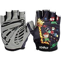Gogokids Kids Half Finger Cycling Gloves - Children Sports Gloves for Roller Skating, Road Bicycle, Mountain Bike, Climbing