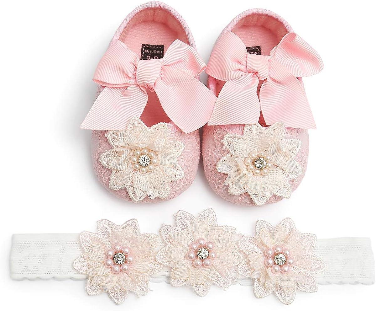 Baby Girls Christening Baptism Shoes Newborn Infant Lace Flower Soft Soled Shoes