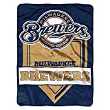 The Northwest Company MLB Milwaukee Brewers Royal Plush Raschel Throw, One Size, Multicolor