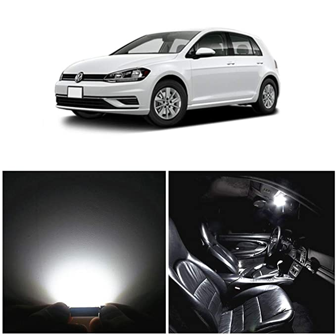 WLJH 11pcs LED luces interiores Súper brillante blanco reemplazo bombillas conjunto para GOLF 6 VI GTI MK6 2010 2011 2013 2014: Amazon.es: Coche y moto