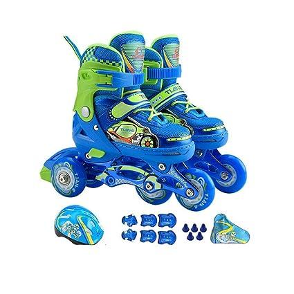 Y-M-H Patines de Ruedas Ajustables para niños-niños de 4 Ruedas Quad Skate iluminando Patines