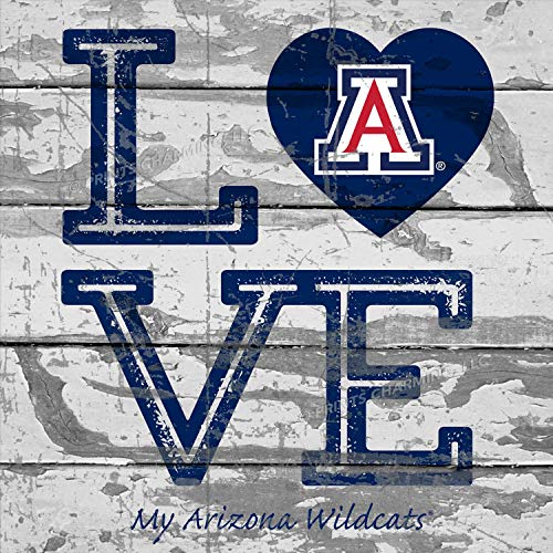 Prints Charming College Love My Team Logo in Heart Square Arizona Wildcats Unframed Poster 13x13 Inches ()